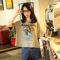 What's Hot Jacqueminot ramones punk print loose t-shirt female half sleeve t323