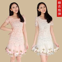 2014 spring women's lace princess dress water-soluble embroidered slim female summer short-sleeve dress