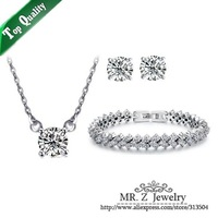 Wedding Set A Zircon Necklace Earrings Plated Real White Gold Bracelet Fashion Jewelry Set Free Shipping