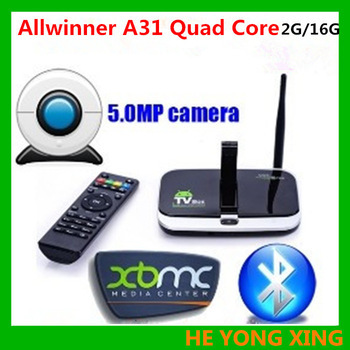 EU PLUG CS918S Android 4.2.2 TV BOX 5.0MP Camera Microphone Allwinner A31S Quad Core 2G/16G XBMC Bluetooth HDMI Media Player(China (Mainland))