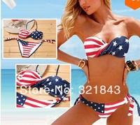 Free Shipping Sexy Women Stars Stripes USA Flag Bikini Padded Fringe Tassel bikini american flag steel bikini American Swimwear