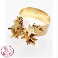 D4157 Fashion New Women Bangles Exclusive Custom Stars Wide Copper Bracelets Bangles Jewelry high quality 24k bangles woman