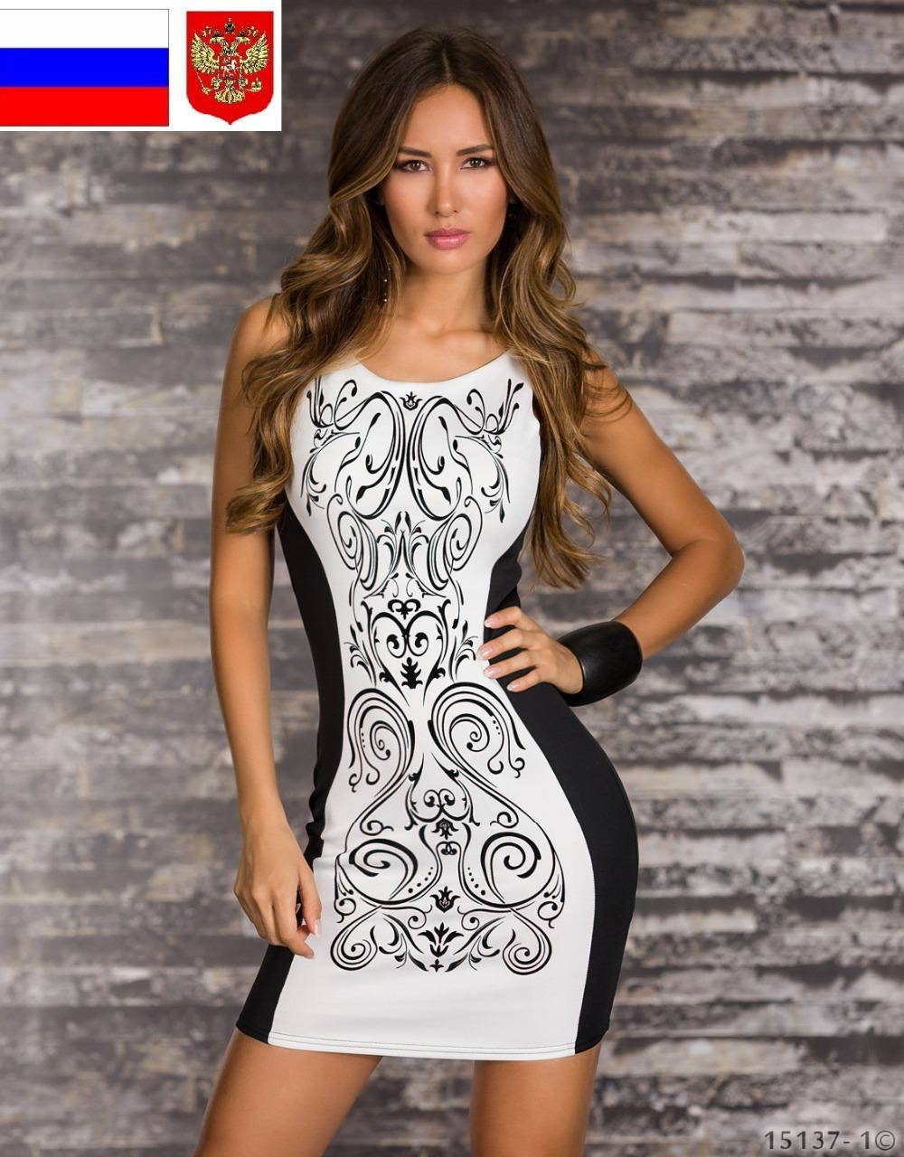 Белое платье с черным рисунком