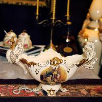 Fashion luxury ivory porcelain fruit plate vintage royal fruit plate luxury home decoration ceramic decoration