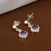 Lose Money!!Wholesale 925 Silver Earring,925 Silver Fashion Jewelry,Purple Stone Earrings SMTE429