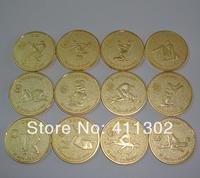 Newest 12pcs/lot sexy Zodiac sign token russian gold  Souvenir coin