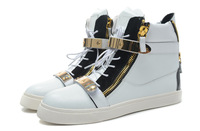 Free Shipping New 2014 Unisex Shoes black  Gold Zipper  shoes white Ankle Genuine Leather  Sneakers