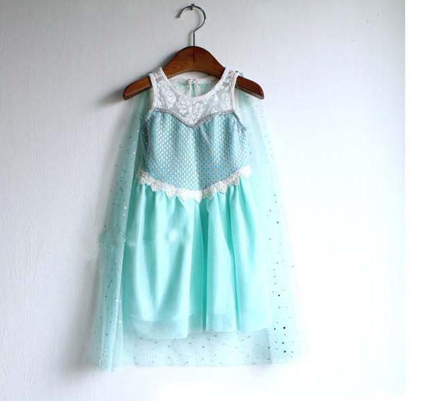 new 2014 frozen dress baby & kids girl summer dress +cotton yarn cloak fashion lace blue princess Elsa dresses 5pcs/lot(China (Mainland))