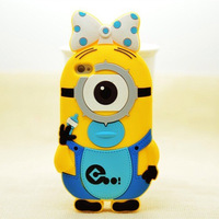 Newest Hot Sell 3D Cute Cartoon Despicable Me Servant/Pacifier Soft Silicon Back Cover Case For Iphone 4 4G 4S,Free Shipping