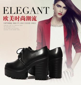 2014 Модный thick heel high platform round toe Женщины Кожа, Vintage comfortable ...