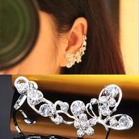 Rhinestone butterfly clip earrings female no pierced earrings in ear cushiest earrings ear hook a26