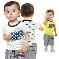 2014 brand newborn baby clothing.baby boy character sets infantis.Vertically striped 100%cotton tshirt & kids short pants summer