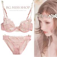 2014 French classic sexy lace transparent ultra thin bra plus size underwear set