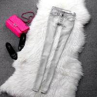 Fashion smoky grey women's skinny pants jeans slim cat scratches pencil pants