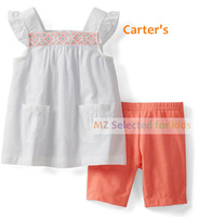 1set,Carters set, Carters GirlsTop+Carters Baby Pants,2-piece Carters Baby Clothing Sets, Sleeveless Swing Top bike short