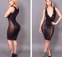 2014 black double layer fashion bandage dress sleeveless bling fish scales bandage dress winter dress