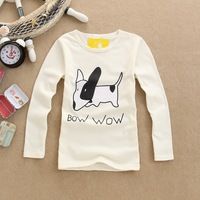 2014 children's spring clothing male female child 100% cotton long-sleeve basic shirt round neck T-shirt children