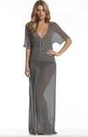 New Sexy Transparent Cover Up Vacation Summer Beach Maxi Dress Sunscreen Floor-length Long DressFree Shipping Hotsale TopQuality