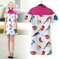 2014 new European style fashion star models with birds printed short-sleeved Slim Dress