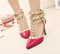 Free shipping 2014 New Arrival Hot sales Women Sandals rivets Pointed High Heels Sexy Woman Pumps wedding shoes xy323-1