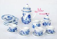 1/12 scare Dollhouse  Lot of 15 Blue Cornflower Porcelain Dollhouse Miniature Coffee Tea Cup Set  furniture