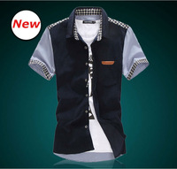 New 2014 men Fashion  Casual shirt    Short  Sleeve  Plaid   polo shirts  3021   L XL XXL XXXL 4XL 5XL 6XL