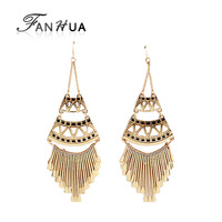 Vintage Tassel Punk Style Drop Earrings Spring 2014 Charming Hollow Out Enamel Alloy Brincos for Women