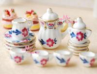 1/12 scare Dollhouse   Lot of 15 ART Dollhouse Miniature Porcelain Coffee Tea Cup Set furniture