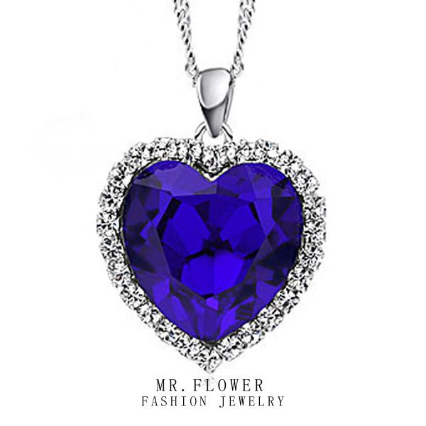sapphire imitation gemstone big heart pendant cz diamond crystal women necklace heart of ocean titanic necklace(China (Mainland))