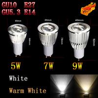 100PCS/LOT  5W/7W/9W GU10/E27/E14/GU5.3 COB LED Spot Light 700 Lumens Cool White/Warm White High Brightness Energy Saving