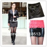 Free shipping sexy leather skirt Women Summer skirts  womens za fashion 2014 New arrive PU skirt elastic women