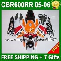 +7gifts For HONDA CBR600RR F5 05 06 CBR600 RR Orange red 05-06 CBR 600 600RR CBR600F5 2005 2006 JM340 Repsol Fairing Kit