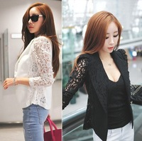 2015 New Top Shirt Sexy Sheer Lace Blazer Lady Suit Outwear Women OL Formal Slim Jacket Black White Plus Size S-XL