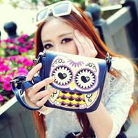 2014 bags cartoon owl print women's handbag messenger bag small women's handbag