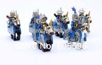 6pcs/lot Lion Cavalryman figure compatible with  Building Block doll Castle Knight Brick WOMA Sluban  mini figures