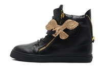newest 2014 black  leather shoes with  golden eagle part  and zippers  lace -up unisex sneakers  US 5.5 to 12