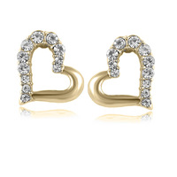 Wholesale heart white gold plated crystal fashion earrings wedding jewelry women  Y2Y48