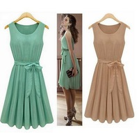 2014 New Summer Casual Women Elegance Bow Pleated Chiffon Vest Dresses Sleeveless Dress Vestidos, Green, Brown, S, M, L, XL