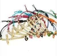 2014 Fashion multi color yarn string jewelry heart rhinestone alloy cross for bracelet for women 12 pcs/lot