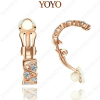 Egant 18K Rose Gold Plated Elements Rhinestone Clip-on Earring (YOYO E397R1)