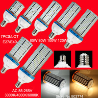3pcs/lot FREE SHIPPING High Brightness  SMD 2835 120W LED E27/E40 Corn  Light  /Warm White Replace 350W Halogen Bulb