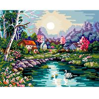 Digital oil painting 40 50 digital painting swan lake diy digital oil painting hand painting