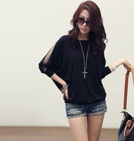 2014 women new fashion white black long sleeve lace knitted loose plus big size t shirt  blouses