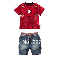 new arrival free shipping 6set /lot kids clothing set boy 2pc suit short sleeve  t-shirt +pant baby boy superman clothing set