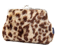 Fashion Womens Handbags Leopard Print Coin Purses Fuzzy Wallet Lovely Bags