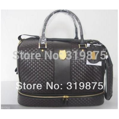 Brown Golf Clothing Boston Bag With Golden Zipper Nice Sample Desigh - Retail/Wholesale(China (Mainland))