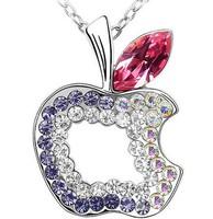 New Full Rhinestone Apple Pendants Crystal Apple Necklace Pendants Necklaces For women