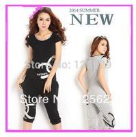 New Spring Summer 2014 Women T-Shirt + Capris Pants Sports Suits Clothing Set Sportswear Casual Suits Set Print Letter Pattern