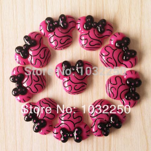 50pcs Zebra Minnie Mouse Hot Pink frame Resina Cabochões Flatback Plano Voltar cabelo Bow Center Deco Artesanato BXT224(China (Mainland))