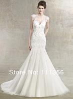 Advanced customize fashion wedding dress double-shoulder lace slim waist and fish tail bride wedding